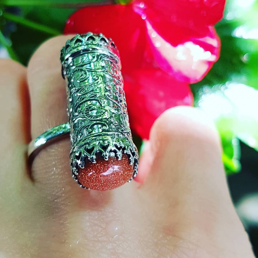 Sterling silver ring with natural sunstones