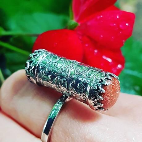 Sterling silver ring with natural sunstones, Bijuterii de argint lucrate manual, handmade