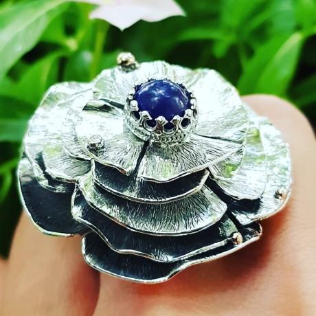 Sterling silver ring with natural lapislazuli Mille Feuille Radicalized, Bijuterii de argint lucrate manual, handmade