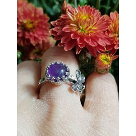 Sterling silver ring with natural amethyst Butterfly gone mad, Bijuterii de argint lucrate manual, handmade