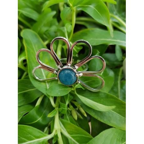 Sterling silver ring with natural aquamarine HalfmoonsandBlueflowers, Bijuterii de argint lucrate manual, handmade
