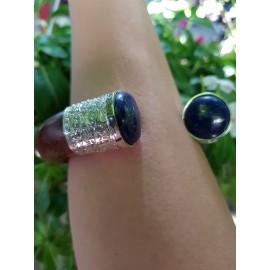 Sterling silver cuff and teak BlueinPower, Bijuterii de argint lucrate manual, handmade