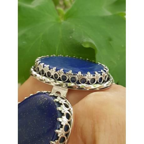 Large Sterling silver ring with natural lapislazuli OneofYours, Bijuterii de argint lucrate manual, handmade