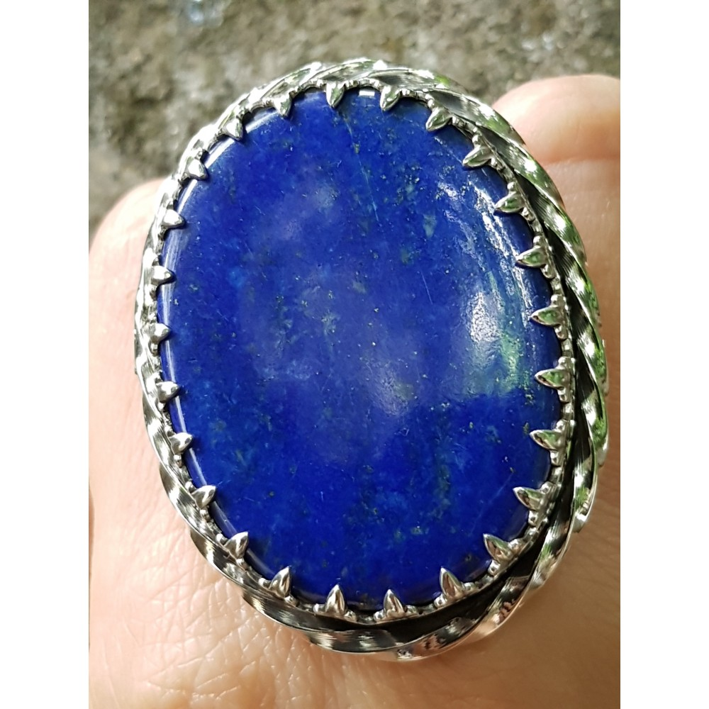 Large Sterling silver ring with natural lapislazuli OneofYours