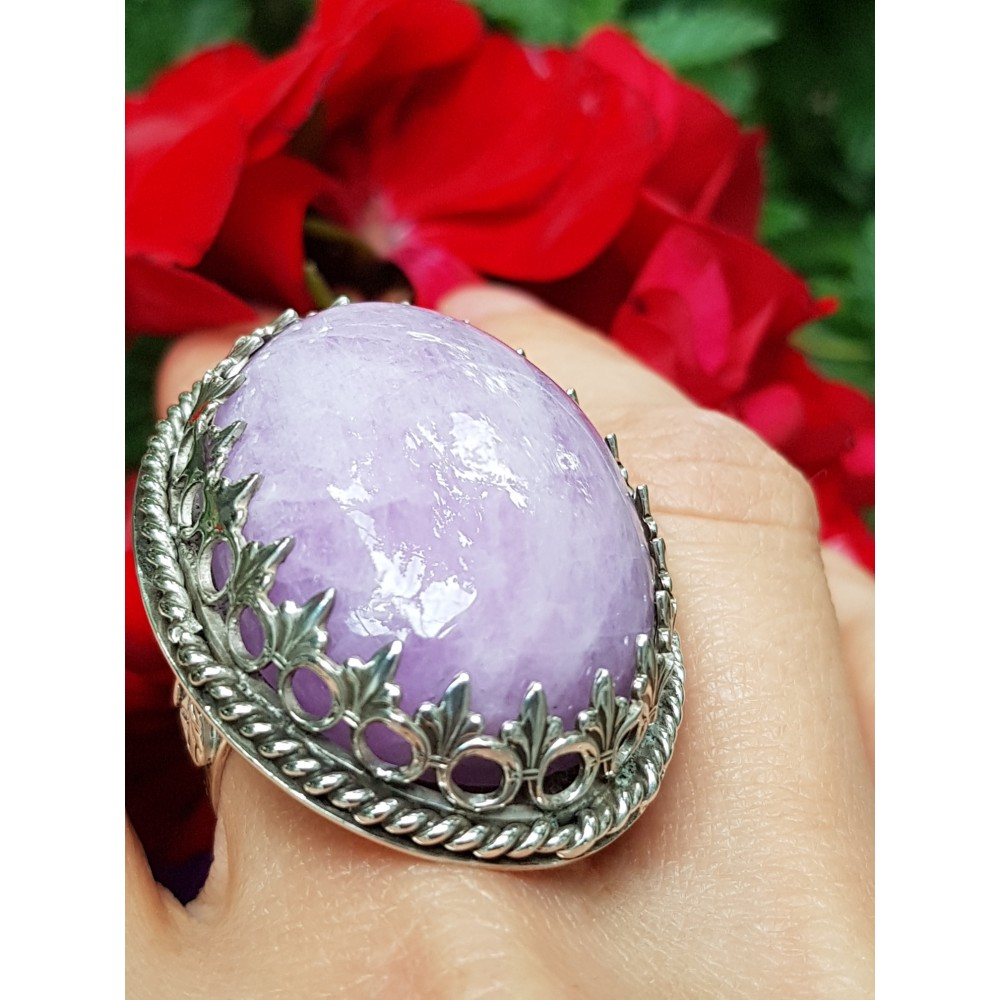 Large Sterling Silver ring with natural kunzite Account of a Sultana at Daybreak