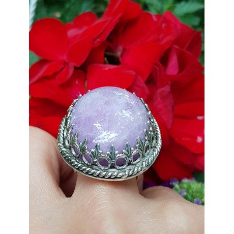 Large Sterling Silver ring with natural kunzite Account of a Sultana at Daybreak, Bijuterii de argint lucrate manual, handmade