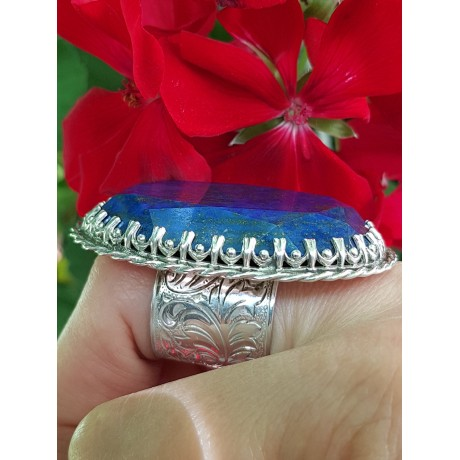 Sterling silver ring with natural lapislazuli LetmeadoreYou, Bijuterii de argint lucrate manual, handmade