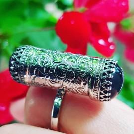 Sterling silver ring with natural amethyst Mauve Binoculars, Bijuterii de argint lucrate manual, handmade