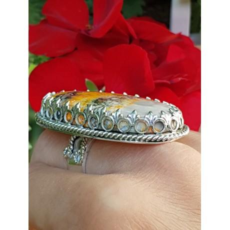 Large Sterling silver ring with natural bumblebee jasper Love of Mine, Bijuterii de argint lucrate manual, handmade