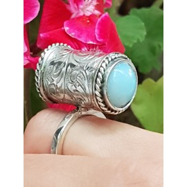 Sterling silver ring and opalite stones Standing peerless, Bijuterii de argint lucrate manual, handmade