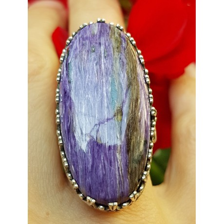 Sterling silver ring with natural charoite Rod of Rain and Lila, Bijuterii de argint lucrate manual, handmade