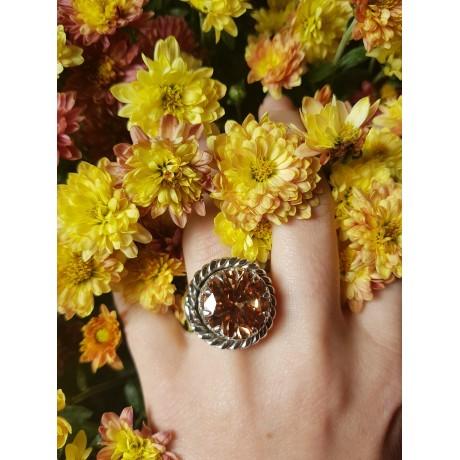 Sterling silver ring and citrine CrownAura, Bijuterii de argint lucrate manual, handmade