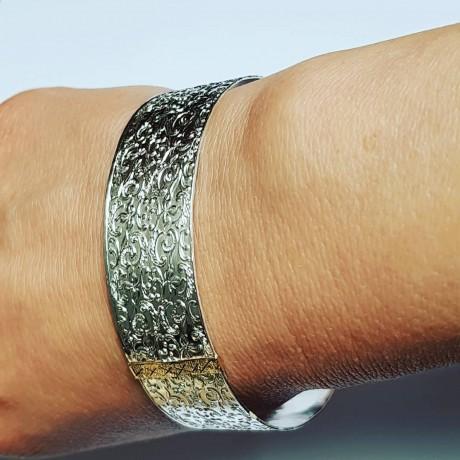 Sterling silver and gold bracelet, Bijuterii de argint lucrate manual, handmade