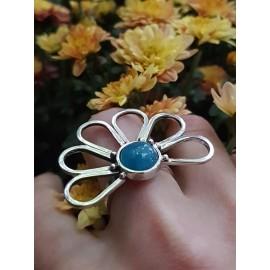 Sterling silver ring with natural aquamarine, Bijuterii de argint lucrate manual, handmade