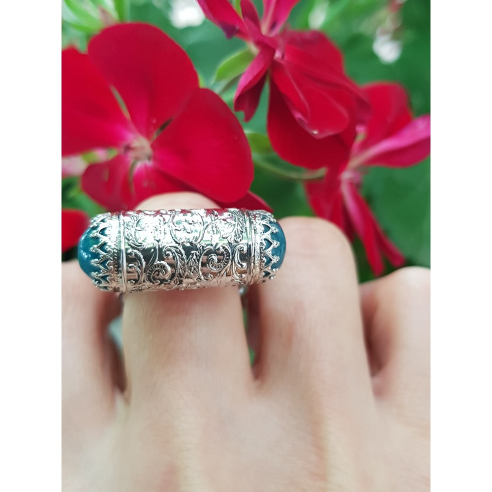 Sterling silver ring with natural aquamarine stones Time to Bloom