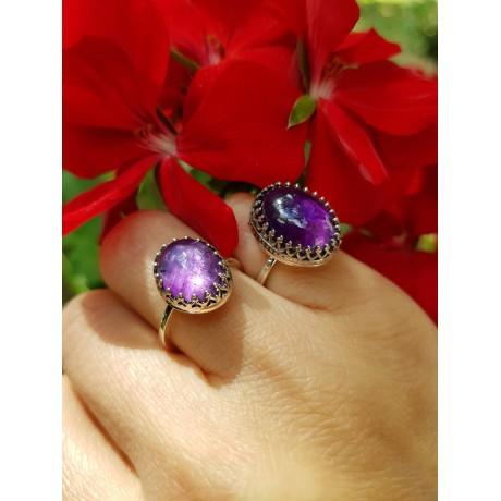 Sterling silver ring with natural amethyst Omphalos, Bijuterii de argint lucrate manual, handmade