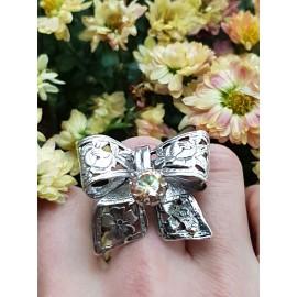 Sterling silver ring and citrine LoveBow, Bijuterii de argint lucrate manual, handmade
