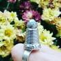 Inel lucrat integral manual în argint Ag925 și cristal Swarovski curcubeu Littlewaysofmenandwomen