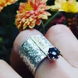 Sterling silver and 14kgold ring Splendor, Bijuterii de argint lucrate manual, handmade