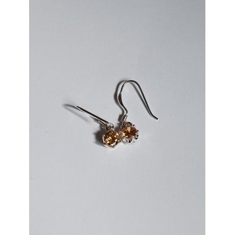 Sterling silver earrings and citrines 1, Bijuterii de argint lucrate manual, handmade