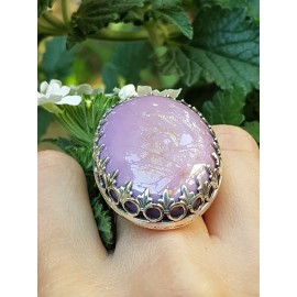 Sterling silver ring with natural phosphosiderite stone A good Show of Purple