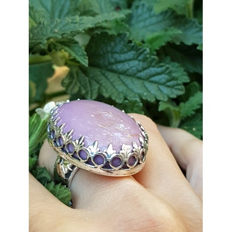 Sterling silver ring with natural phosphosiderite stone A good Show of Purple, Bijuterii de argint lucrate manual, handmade
