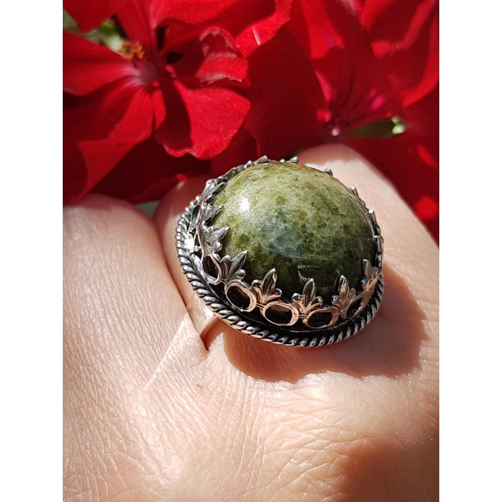 Sterling silver ring and natural vesuvianite InformoreGreen