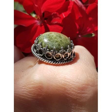 Sterling silver ring and natural vesuvianite InformoreGreen, Bijuterii de argint lucrate manual, handmade
