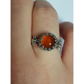 Sterling silver ring with natural carnelian Red Eye