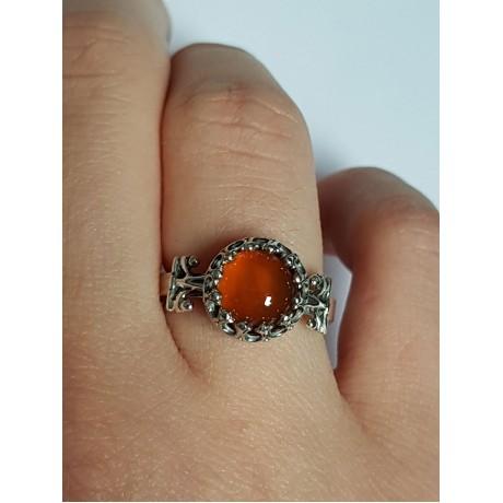 Sterling silver ring with natural carnelian Red Eye, Bijuterii de argint lucrate manual, handmade