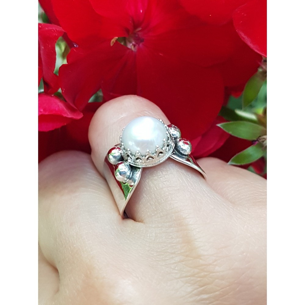 Sterling silver ring and pearl SlowLovin '