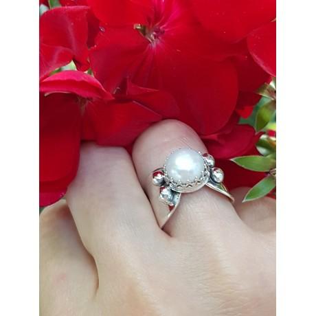 Sterling silver ring and pearl SlowLovin ', Bijuterii de argint lucrate manual, handmade