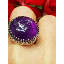 Sterling silver ring with natural amethyst PlentyofLove