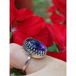 Sterling silver ring with natural amethyst SearingMauves