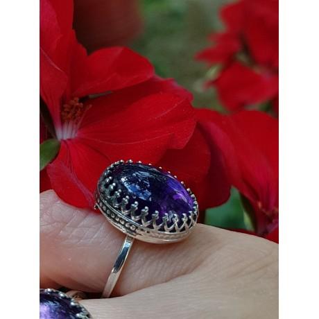 Sterling silver ring with natural amethyst SearingMauves, Bijuterii de argint lucrate manual, handmade
