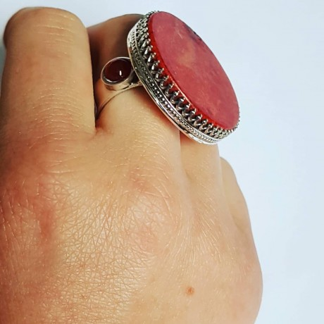 Sterling silver ring with natural coral and carnelian, Bijuterii de argint lucrate manual, handmade