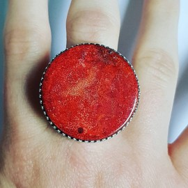 Sterling silver ring with natural coral and carnelian