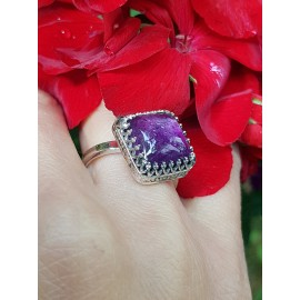 Sterling silver ring with natural amethyst 1