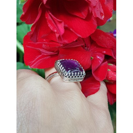 Sterling silver ring with natural amethyst 1, Bijuterii de argint lucrate manual, handmade