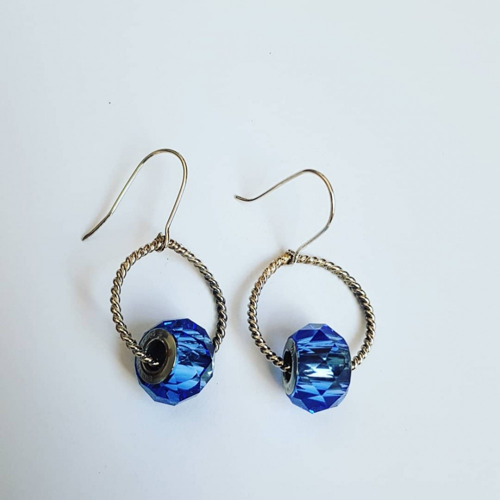 Sterling silver earrings and Swarovski crystals Prime of Blue