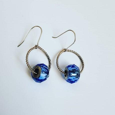 Sterling silver earrings and Swarovski crystals Prime of Blue, Bijuterii de argint lucrate manual, handmade