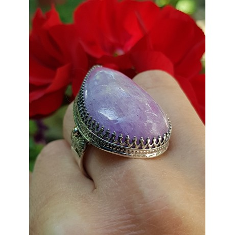 Sterling silver ring with natural kunzite stone Pink Cocktail, Bijuterii de argint lucrate manual, handmade