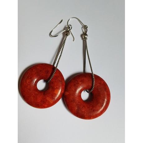 Sterling silver earrings with natural coral stone RedOmen, Bijuterii de argint lucrate manual, handmade