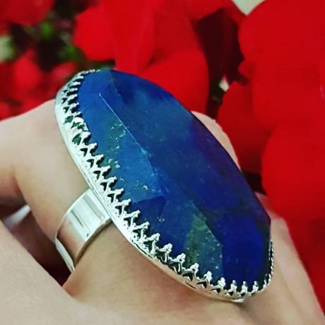 Sterling silver ring with natural lapislazuli PowerofBlue, Bijuterii de argint lucrate manual, handmade