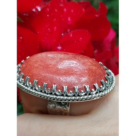 Sterling silver ring with natural coral stone RedCall, Bijuterii de argint lucrate manual, handmade