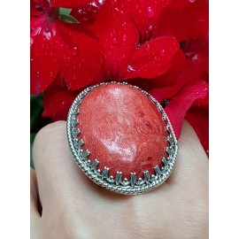 Sterling silver ring with natural coral stone RedCall