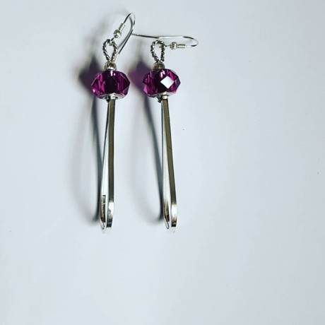 Sterling silver earrings and Swarovski crystals Dripping Chandeliers, Bijuterii de argint lucrate manual, handmade