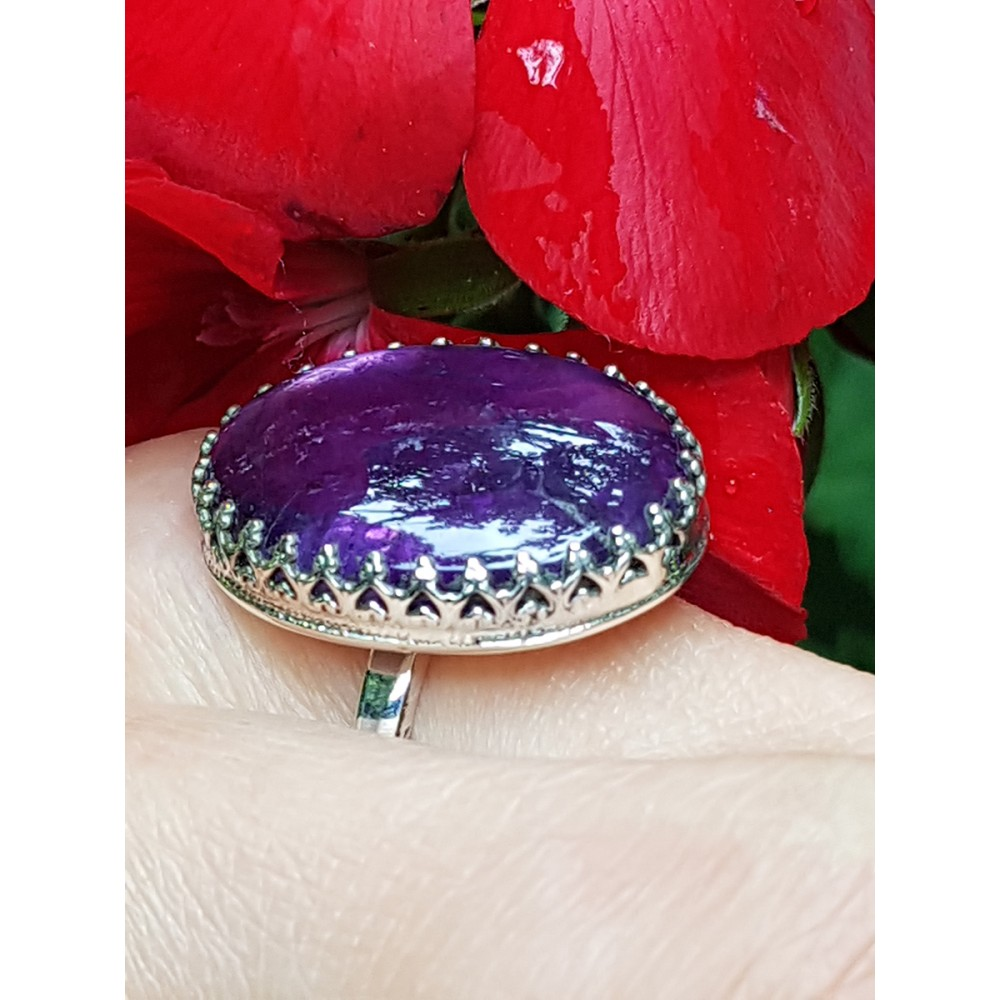 Sterling silver ring with natural amethyst Particles of Mauve