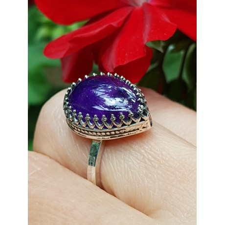 Sterling silver ring with natural amethyst Classy Hearty, Bijuterii de argint lucrate manual, handmade