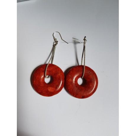 Sterling silver earrings and corals RedHarbinger, Bijuterii de argint lucrate manual, handmade